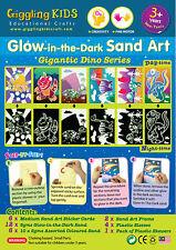 Glow in the Dark Sand Art kit - Gigantic Dino theme (6 x Large Card), Au Seller