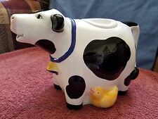 CoCo DAWLEY ~~ Ceramic COW with yellow duckling TEAPOT ~~ FREE SHIPPING in USA!!