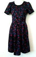 WOMEN'S LULAROE BLACK MULTI-COLOR FLORAL PRINT SHORT SLEEVE FIT & FLARE DRESS XS