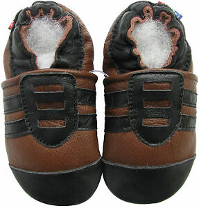 carozoo sports black brown 6-12m soft sole leather baby shoes