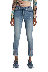 Desigual Mia Ankle Grazer Jeans with Diamond Embroidery Ankles RRP£109 21WWDD22