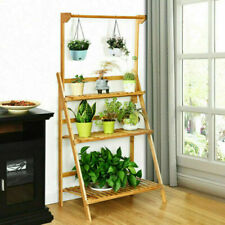 Costway 3 Tier Bamboo Hanging Folding Plant Shelf