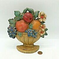Cast Iron Fruit Basket Door Stop Grapes Apples Oranges Book End Cottage Core