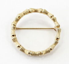 14k Yellow Gold Unique Textured Circle Brooch Pin~6.4g