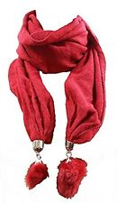 Anna Nova RED Cotton Silver Clasp Tassle Scarf Brand New 100% cotton £7.99