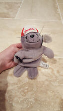 """COCA-COLA SEAL"" IN BASEBALL CAP PLUSH BEANBAG GRAY NWT 1997 Vtg"