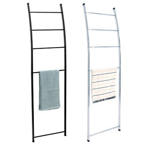 Loft Towel Rack Shelves Free Standing 4 Tier Black Chrome Bathroom Ladder