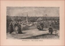 PROVIDENCE, RHODE ISLAND view from Prospect Terrace, antique engraving 1889