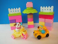 Fisher Price Little People Doll, Dog, Vehicles and Pastel Building Blocks
