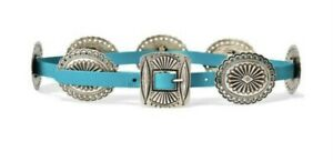 Ralph Lauren Women's Belt XS Concho Native Turquoise 7 Plate Leather Buckle NWT