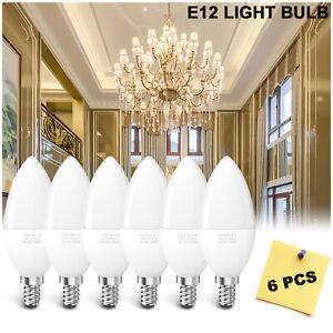 6x E12 LED Chandelier Light Bulb Candelabra Ceiling Fan Bulb 30W Eq. 6000K White
