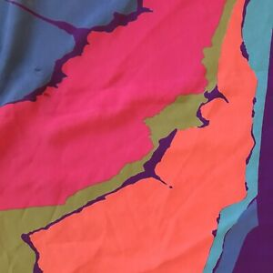 "Large Multi Color Scarf 43"" x 45"" Purple Pink Blue Orange Bold Modern"