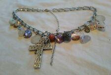 Silver Tone Stone Crucifix Charm Style Bib Necklace Bohemian