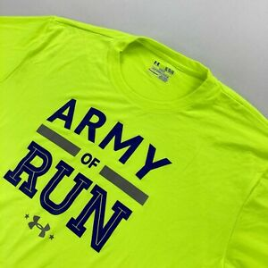 "Under Armour Men's ""Army Of Run"" Performance T-Shirt Neon Yellow • XL"