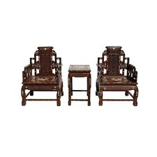 Chinese Huali Brown Rosewood Mother of Pearl Inlay Carved Armchair Set cs4305