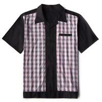 Men Punk Metal Rockabilly Retro Plaid Shirt Short Sleeve Cotton Hip Hop Clothing