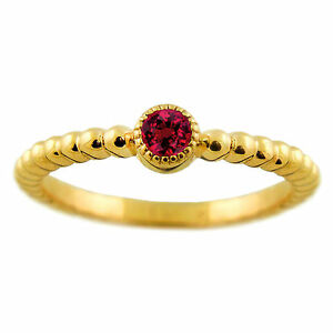 Handmade in USA 14k Yellow Gold Ruby Beaded Stackable Ring Size 6 Trendy New Tag