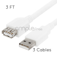 3 Pack USB 2.0 Extension 3FT Cable Type A Female to A Male White Cable