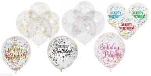 Qty 6 x 12in Clear Confetti Filled  Balloons Birthday Celebration Party Supplies