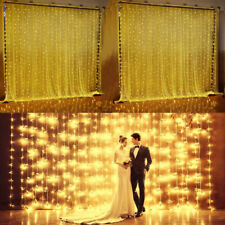UK 3Mx3M LED Indoor Window Curtain Fairy Light Wedding Waterfall String Lights