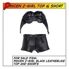 Phicen Hot Z-Girl Black Leathlike Top & Shorts fit 1/6 12 in Female Toys
