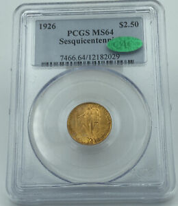 1926 PCGS & CAC MS64 Sesquicentennial $2.5 Commemorative Gold