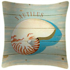 NEW Nautilus Sea Shell Beach Art Print Retro Cushion Martin Wiscombe