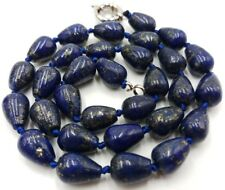 Blue Lapis Lazuli Natural Drop Beads Gemstone Jewellery Necklace 18'' 8x12mm