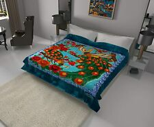 Solaron Classic Peacock Korean Thick Mink Soft Plush King Size Blanket Aqua Blue