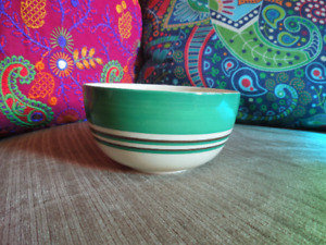 Clarice Cliff Green Gold and White Banded Sugar Bowl