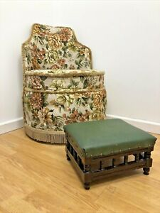 Small Vintage Emerald Green Leather Footstool With Dark Wood Varnished  Base