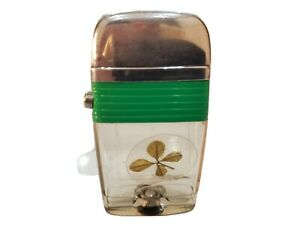 Vintage Working Scripto VU Lighter Four Leaf Clover / IRISH / Green Band