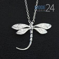 Damen Hals Kette 925 Sterling Silber pl Zirkonia Collier Anhänger Libelle Insekt