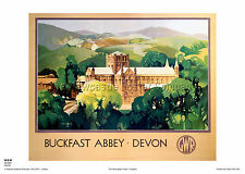 BUCKFAST ABBEY DEVON VINTAGE RAILWAY TRAVEL ADVERTISING POSTER HOLIDAY RETRO