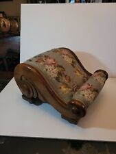 """Antique 19th Century Mahogany Gout Stool. Beautiful needlepoint cover 14""""x9"""""""