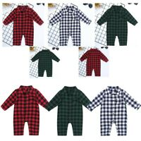 Newborn Baby Boys Girls Plaid Romper One-piece Shirt Jumpsuit Clothes Outfits