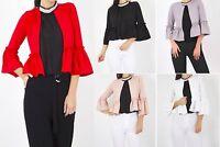 New Women Ladies Frill Sleeve Open Front Blazer Jacket Cropped Peplum Office UK