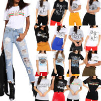Womens Ladies Short Sleeve Slogan Print T-Shirt Top Cotton Celebrity Inspired