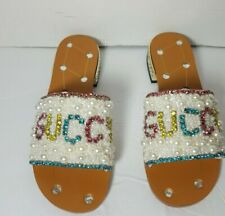 Gucci  Leather Sandal With multicolor Crystals