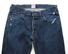 PRPS Mens Straight Blue Distressed Button Fly Japanese Denim Jeans - W32 W34