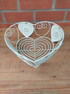"Vintage Cream Wire Heart Shaped Basket, Fruit, Storage, Display 12"""