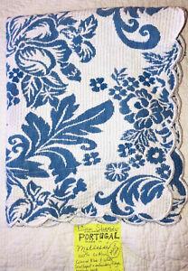Pillow SHAM White & Williamsburg-BLUE Matelasse PORTUGAL Floral Cotton Mint