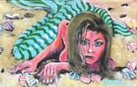 BEACH MERMAID Original Topless Art PAINTING DAN BYL Contemporary 19x30 inch