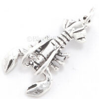 LOBSTER Charm Sea life food animal Pendant STERLING SILVER Moveable claws 3D 925