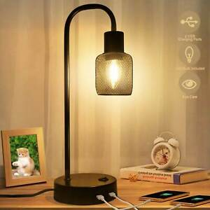 Industrial Table Lamp Modern Black Desk Nightstand Bedside Metal Dimmable USB