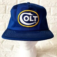 Vintage Colt Firearms Snapback Hat Mesh Cap Gun Blue White Yellow Made In USA