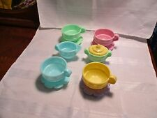 Fisher Price Fun with Food Vintage Yellow Tea set Cups saucers sugar cream pink
