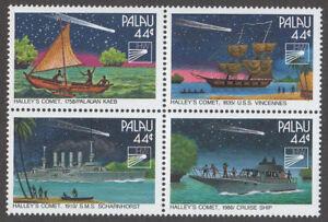 PALAU, SCOTT # 95-98, BLOCK OF 4 RETURN OF HALLEY'S COMET, SHIPS & BOATS, MNH