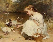 Young Girl In Beautiful Dress Feeding Ducks Painting 8x10 Canvas Art Print