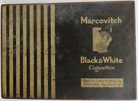 TIN ADVERTISE BOX MARCOVITCH BLACK & WHITE CIGARETTES LONDON ENGLAND VINTAGE